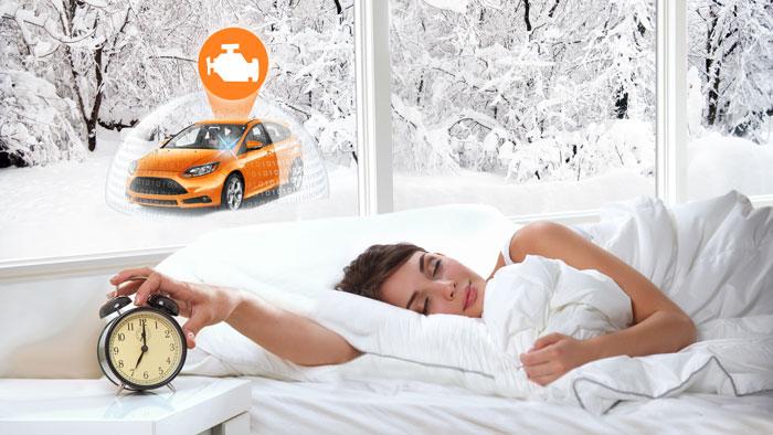 Автозапуск по будильнику: В режиме автоматического запуска двигателя по будильнику охранное оборудование осуществляет запуск и прогрев двигателя в заданное время