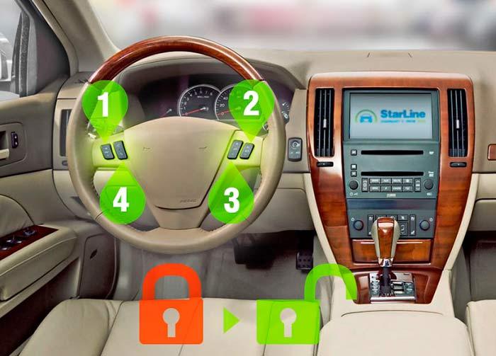 Дополнительная защита от угона даже в случае кражи ключей. Поездка возможна только после ввода при помощи штатных кнопок автомобиля индивидуального PIN-кода, известного только владельцу транспортного средства (при интеграции 2CAN+2LIN интерфейса)